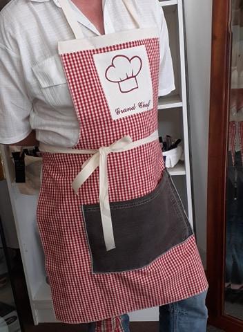 Tablier adulte mixte, Grand Chef, coton vichy rouge